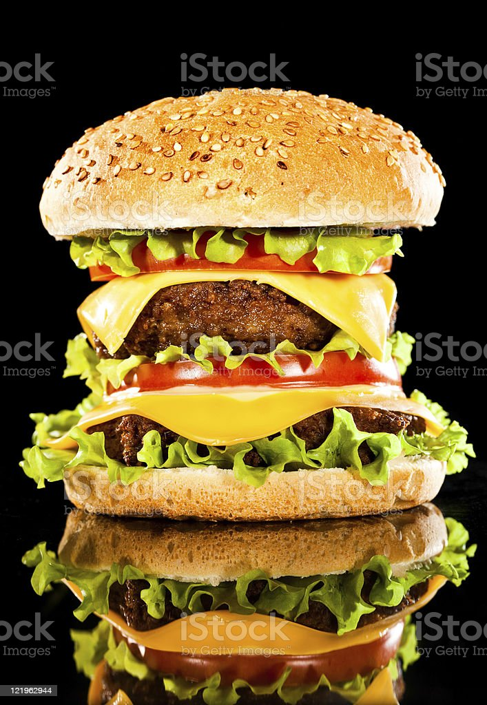 Tasty and appetizing hamburger on a darkly green royalty-free stock photo