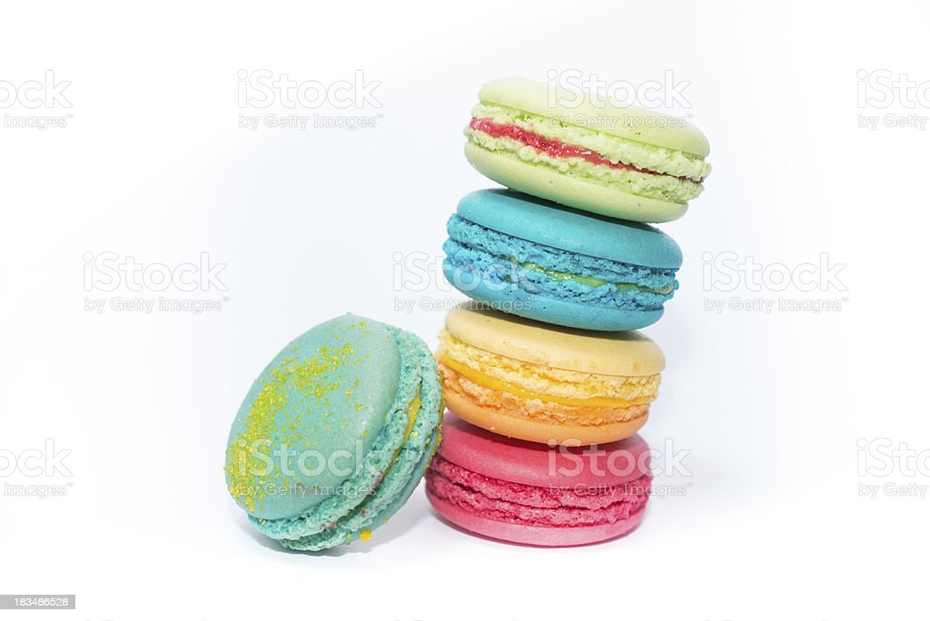 Tasty and Assorted Colorful French Macarons royalty-free stock photo