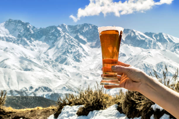 Tasty and fresh red beer at the foot of the snowy mountain. stock photo