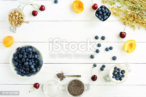 A tasty and healthy breakfast of fresh blueberries, granules, chia seeds, yogurt with blueberries in a glass jar on a white wooden background.Top view.Copy space