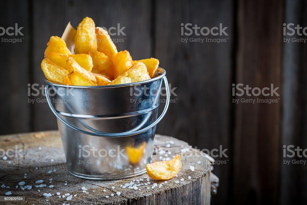 Tasty and hot fries made of fresh potato stock photo