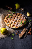 Apple pie with a scoop of vanilla ice cream.  Isolated on white with clipping path.