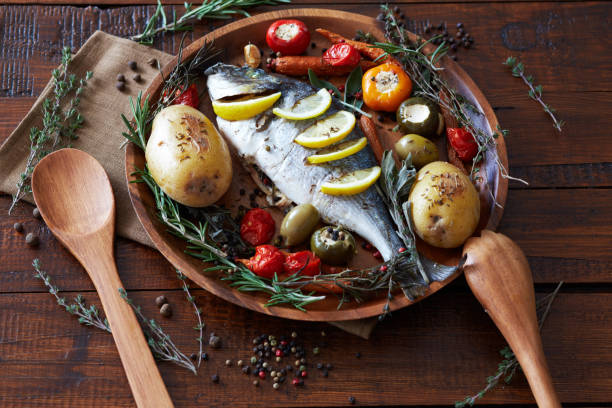 Tasty Baked Fish For Dinner stock photo