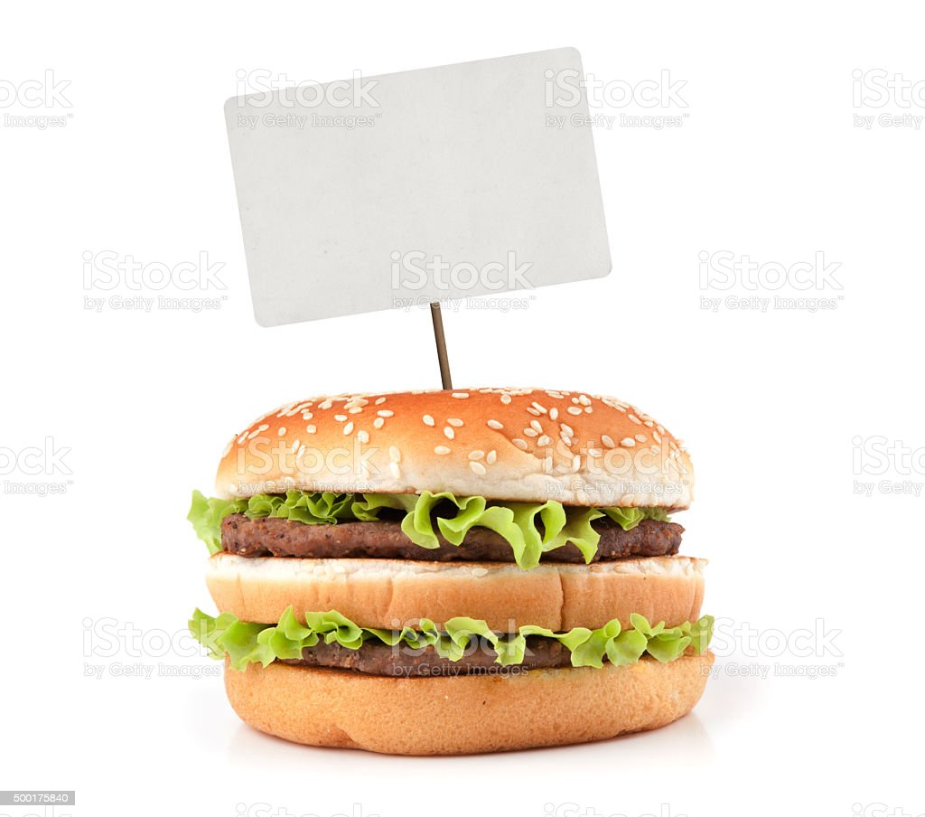 Tasty big hamburger with price tag stock photo