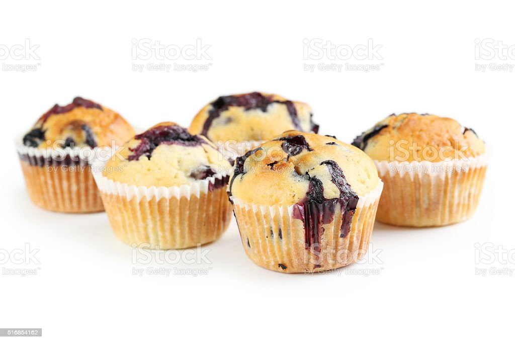 Tasty blueberry muffin isolated on a white stock photo