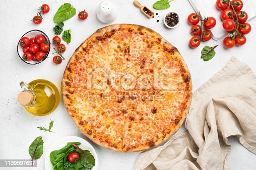 istock Tasty cheese pizza on white background top view 1139597697