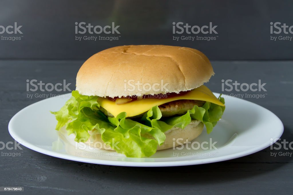 Tasty cheeseburger on white plate on gray surface stock photo