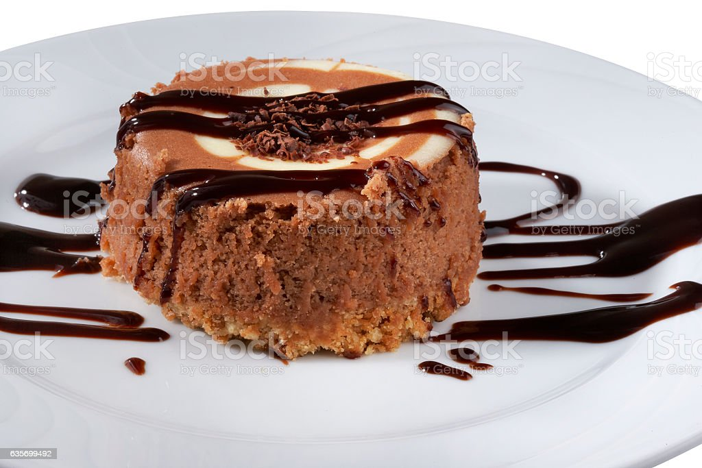 Tasty chocolate cake on a plate royalty-free stock photo