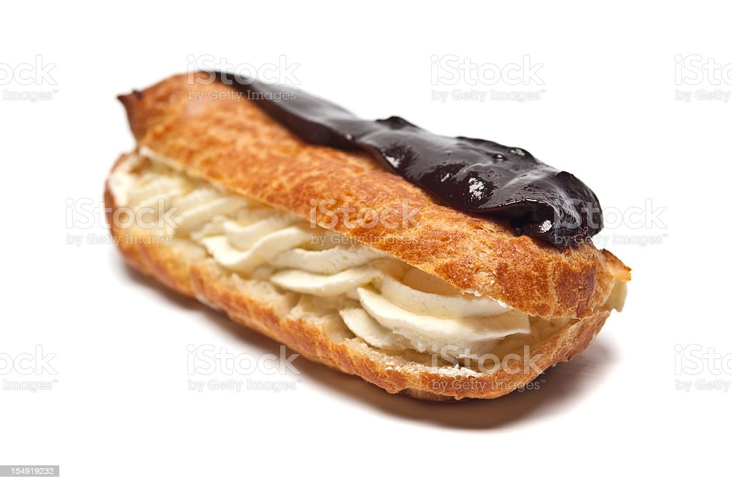 Tasty Chocolate eclair isolated on a white background stock photo