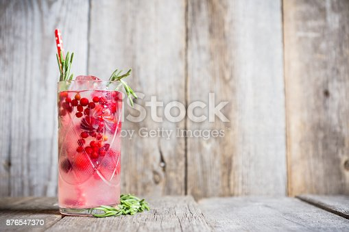 istock Tasty christmas cocktail with cranberry and foxberry 876547370