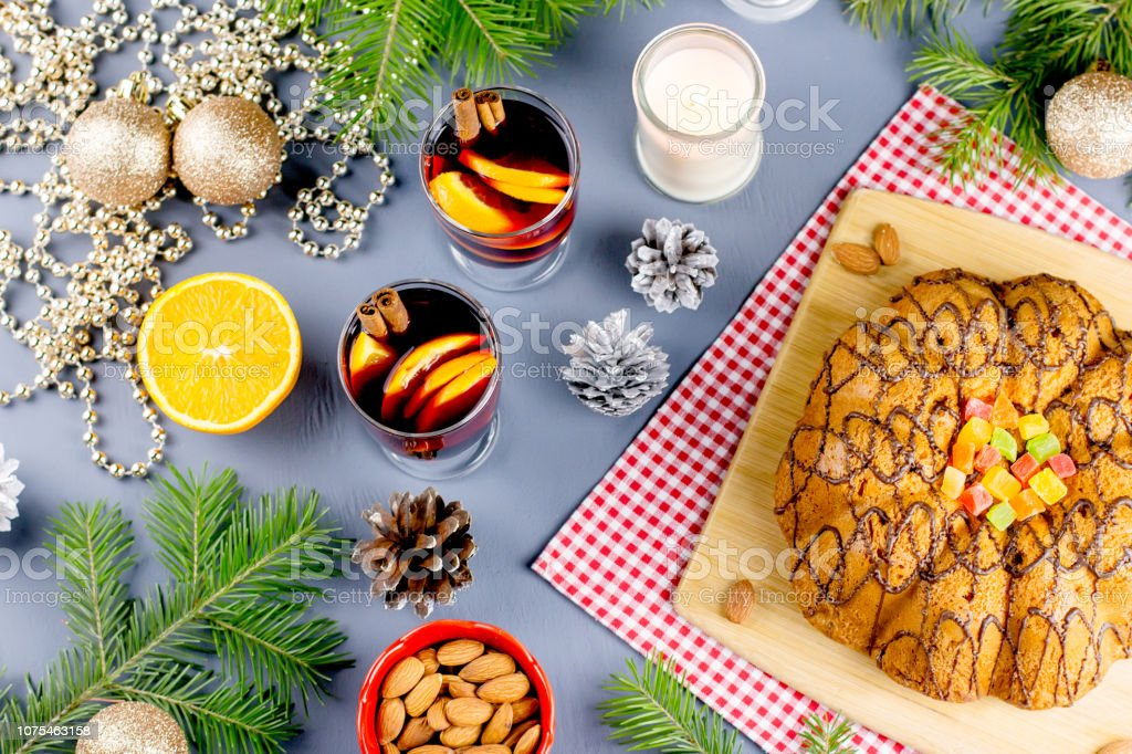 Tasty Christmas Cookies Hot Mulled Wine And Decorations With