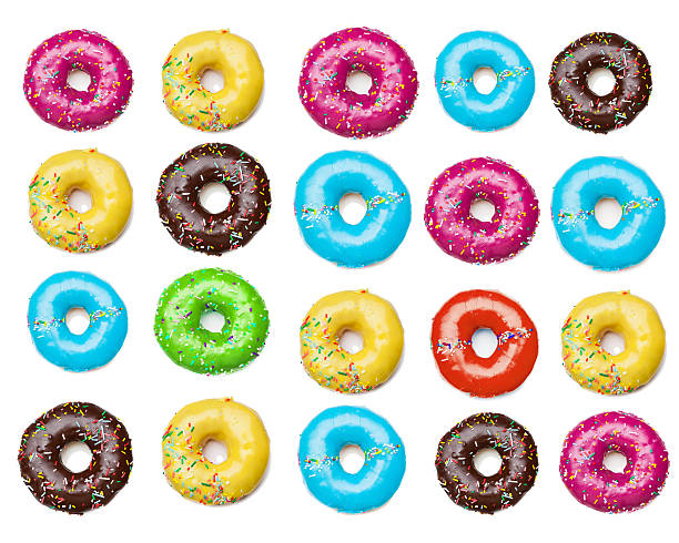 tasty colorful donuts background stock photo