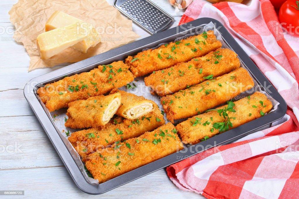 tasty Crispy Chicken cheese breaded wraps royalty-free stock photo