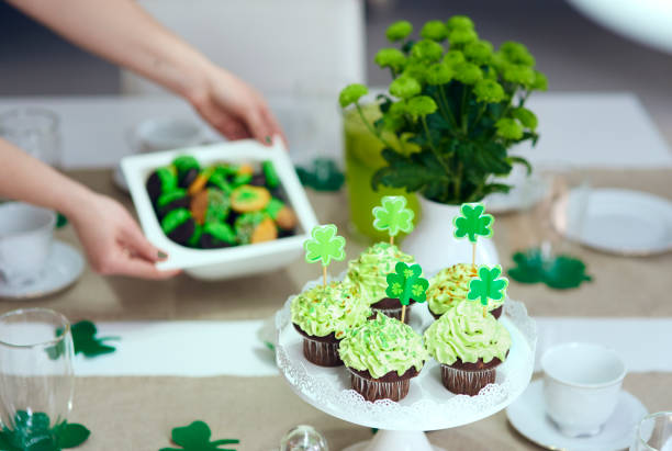tasty cupcake on the table - st patricks day food stock photos and pictures