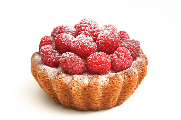 tasty cupcake with berries, isolated on white stock photo
