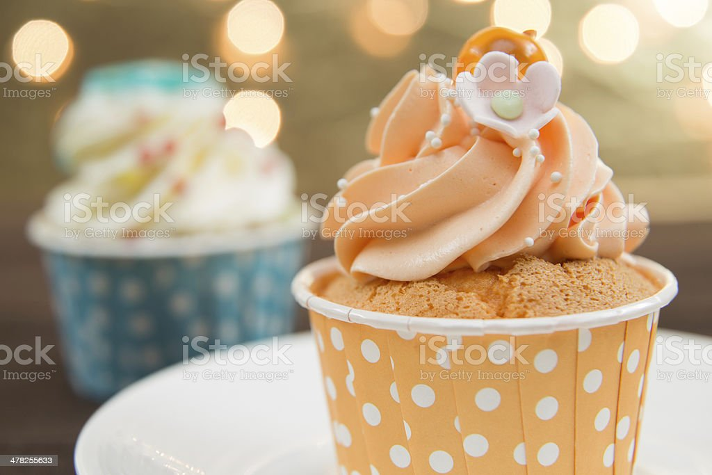 Tasty cupcake with butter cream stock photo