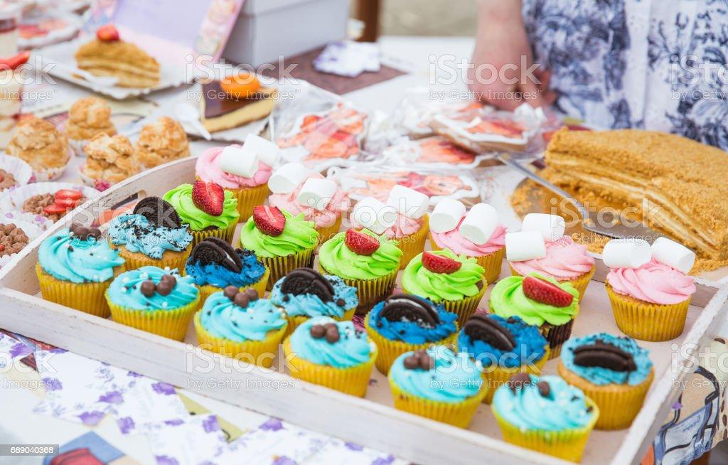 Tasty cupcakes stock photo