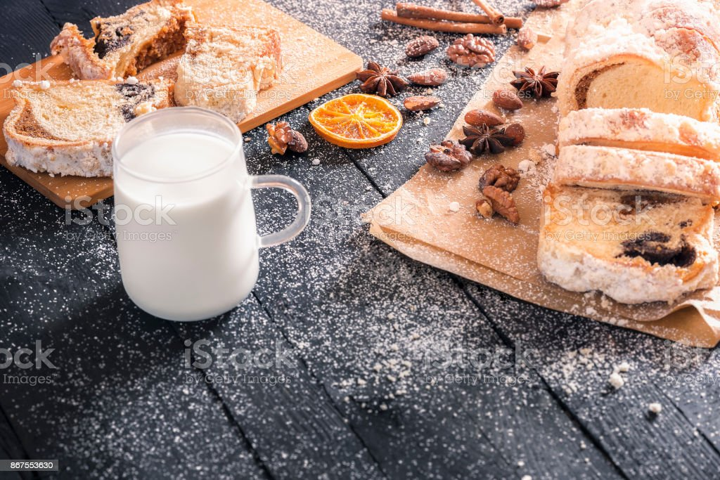 Tasty dessert and cup of milk stock photo