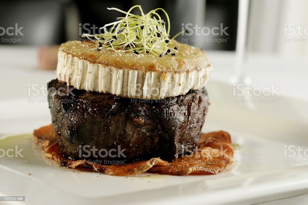 Tasty Fillet Mignon Steak, with Brie. royalty-free stock photo