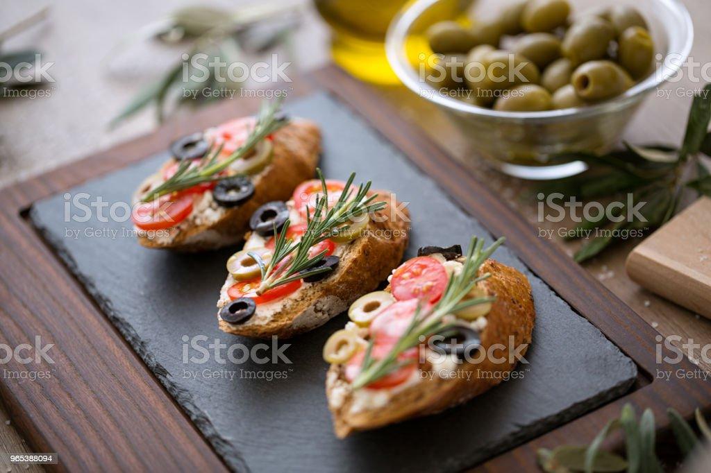 Tasty fresh bruschetta with vegetables zbiór zdjęć royalty-free