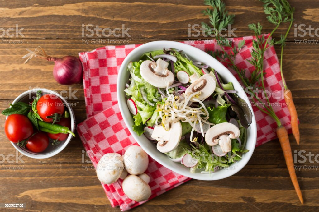 Tasty Fresh Mushrooms Salad royalty-free stock photo