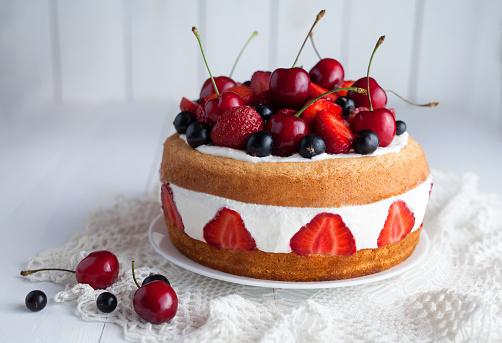 Tasty fresh strawberry cake homemade traditional gourmet sweet dessert