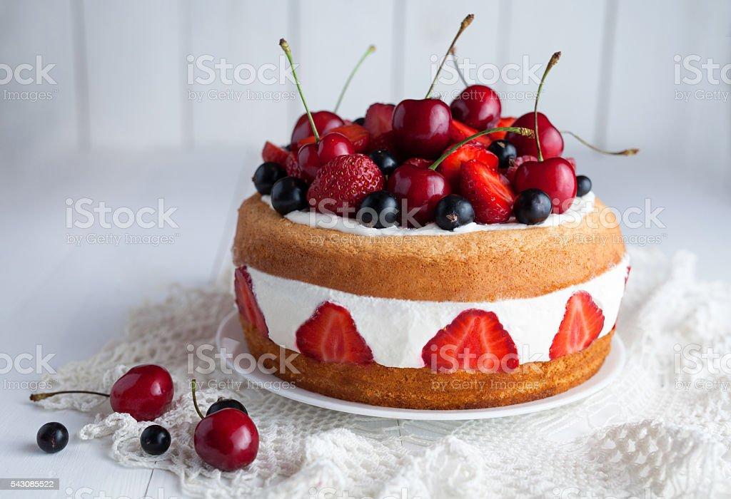 Tasty fresh strawberry cake homemade traditional gourmet sweet dessert stock photo
