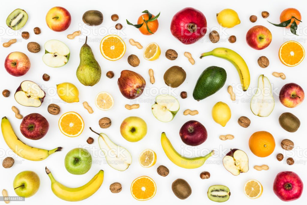Tasty fruits and healthy eating background stock photo