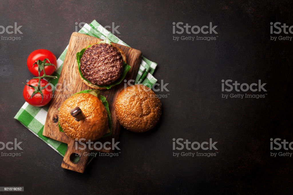 Tasty grilled home made burgers stock photo