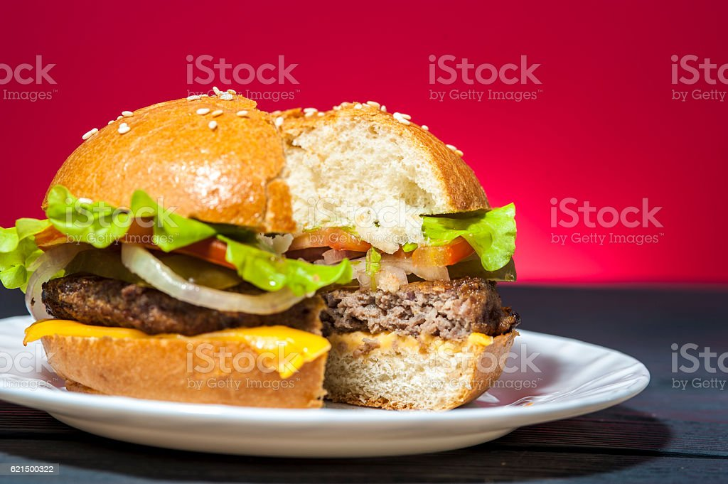Tasty hamburger with vegetables on white plate Lizenzfreies stock-foto