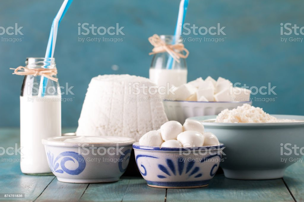 Awe Inspiring Tasty Healthy Dairy Products On A Table On A Blue Background Beutiful Home Inspiration Semekurdistantinfo