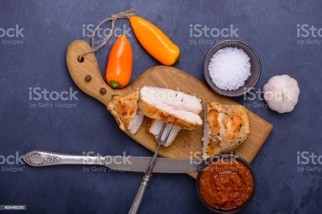 Tasty healthy dinner chicken and sweet pepper stock photo