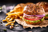 Tasty homemade burger with chicken
