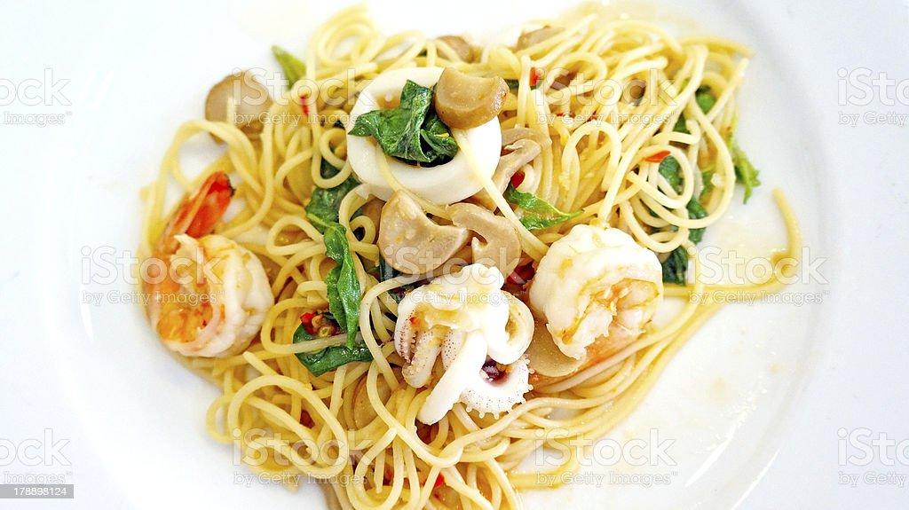 tasty hot and spicy spaghetti royalty-free stock photo
