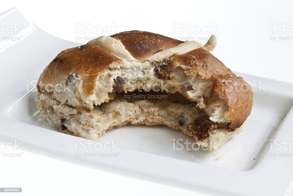 Tasty Hot Cross Bun royalty-free stock photo