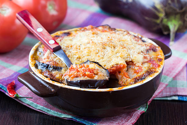 Tasty Italian dish, appetizer with eggplant, cheese and tomato stock photo
