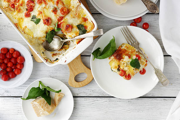 tasty lasagna with spinach stock photo