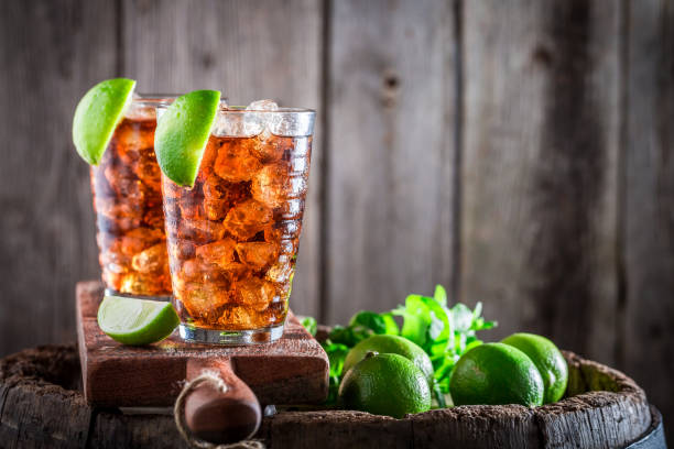 Tasty Long Island drink with ice cube and alcohol – Foto