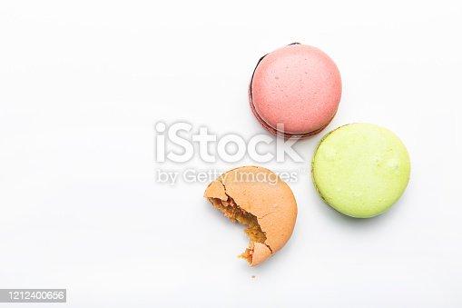 istock Tasty macaroon on white background 1212400656
