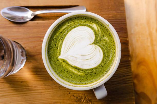 Tasty Matcha Latte with a ... Barcelona coffee shop stock photo