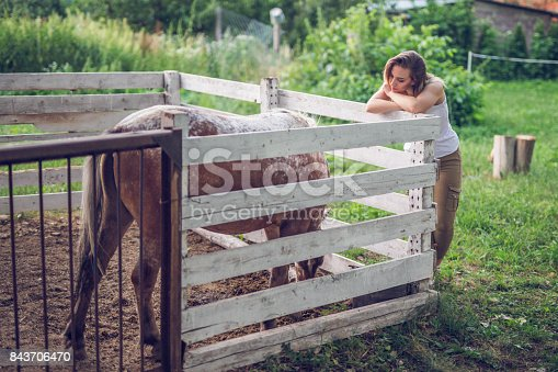 The girl watches her horse eating