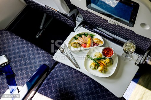 istock Tasty meal served on board of airplane on the table 918427876