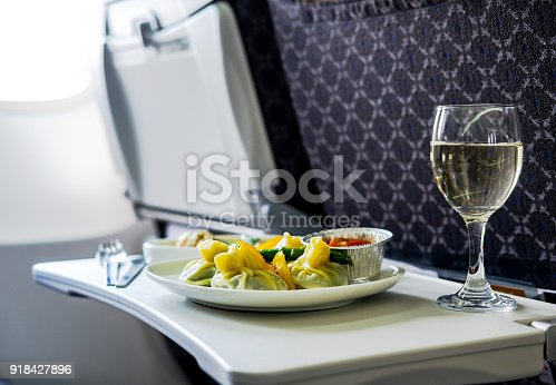 istock Tasty meal served on board of airplane on the table 918427896