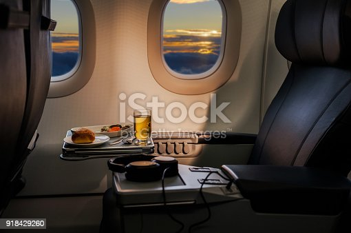 istock Tasty meal served on board of airplane on the table 918429260