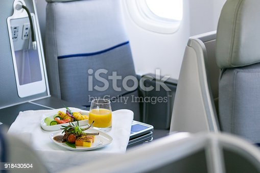 istock Tasty meal served on board of airplane on the table 918430504