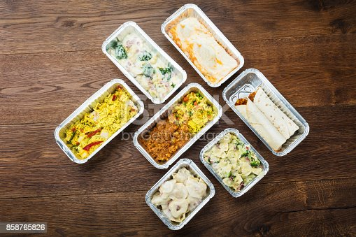 istock Tasty Meals In Foil Containers On The Table 858765826