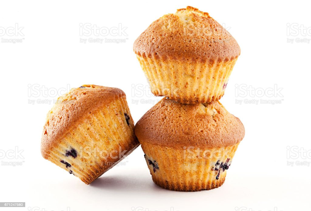Tasty muffins isolated on white background stock photo