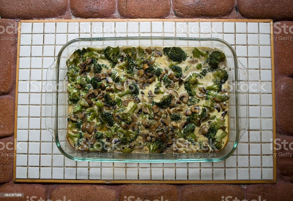Tasty mushrooms with broccoli stock photo