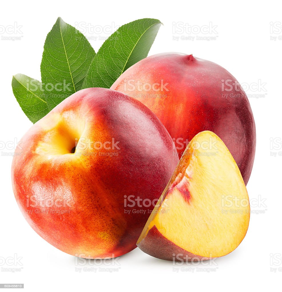 tasty nectarines isolated on the white background stock photo