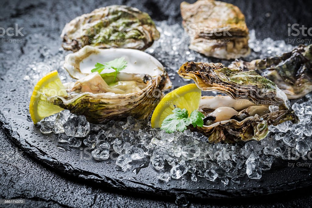 Tasty oysters on ice with lemon stock photo
